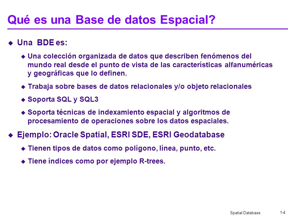 Spatial Database 1-3 a a a La BDE almacena todos los datos en RDBMS RDBMS - Relational Data Base Management System. Unifica el modelo de datos Los dat