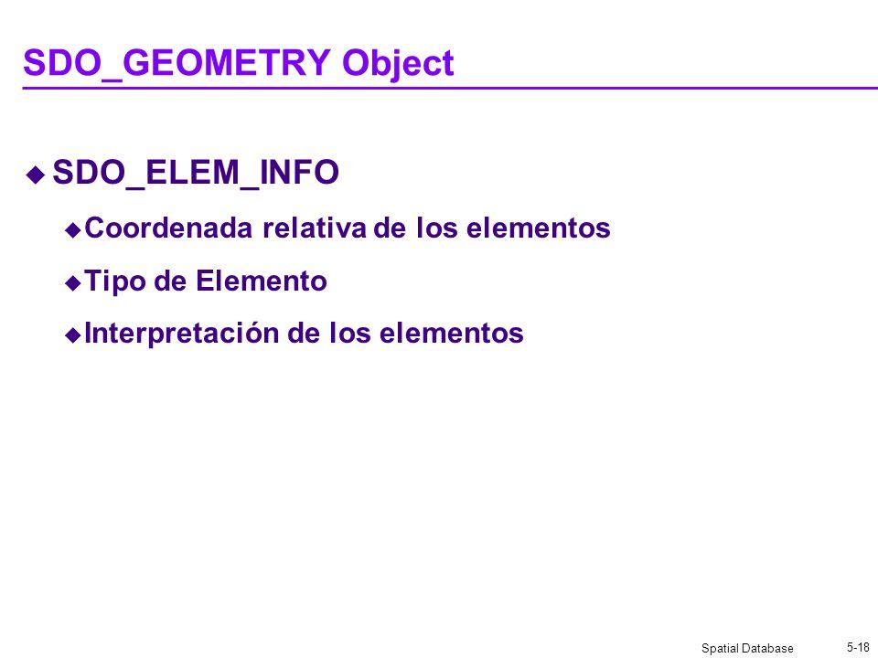 Spatial Database 5-18 SDO_GEOMETRY Object SDO_ELEM_INFO Coordenada relativa de los elementos Tipo de Elemento Interpretación de los elementos
