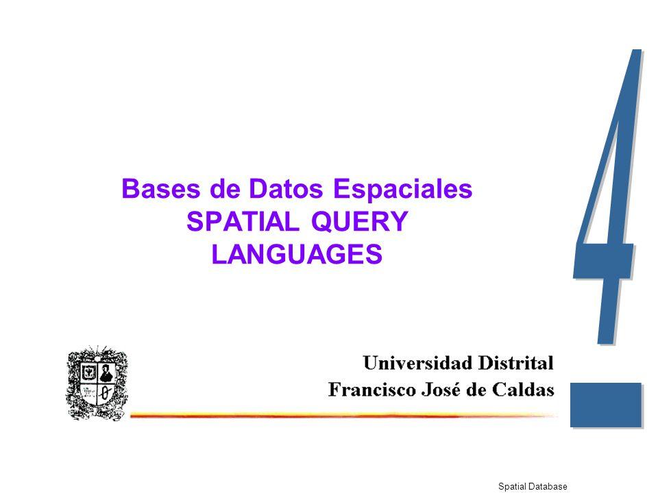 Spatial Database Bases de Datos Espaciales SPATIAL QUERY LANGUAGES