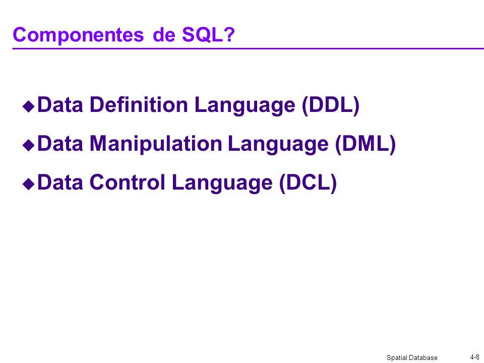 Spatial Database 4-8 Componentes de SQL? Data Definition Language (DDL) Data Manipulation Language (DML) Data Control Language (DCL)