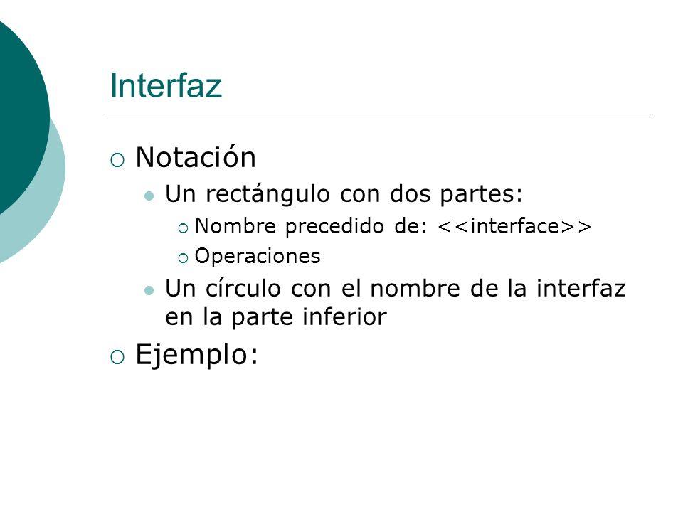 Interfaz Notación Un rectángulo con dos partes: Nombre precedido de: > Operaciones Un círculo con el nombre de la interfaz en la parte inferior Ejempl