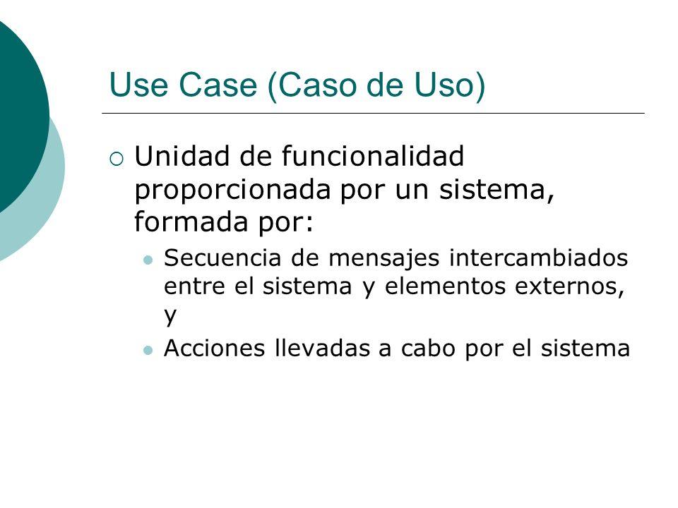 Use Case (Caso de Uso) Unidad de funcionalidad proporcionada por un sistema, formada por: Secuencia de mensajes intercambiados entre el sistema y elem