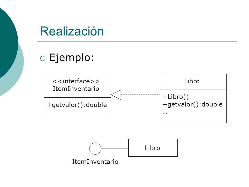 Realización Ejemplo: > ItemInventario +getvalor():double Libro +Libro() +getvalor():double … Libro ItemInventario