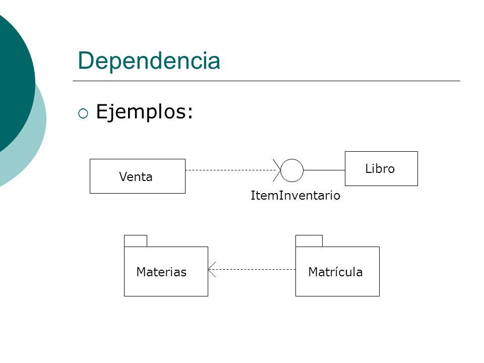 Dependencia Ejemplos: Libro ItemInventario Venta MateriasMatrícula