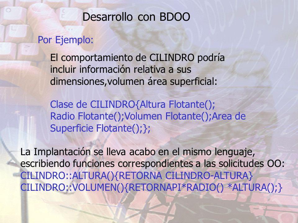 Desarrollo con BDOO Por Ejemplo: Clase de CILINDRO{Altura Flotante(); Radio Flotante();Volumen Flotante();Area de Superficie Flotante();}; La Implanta