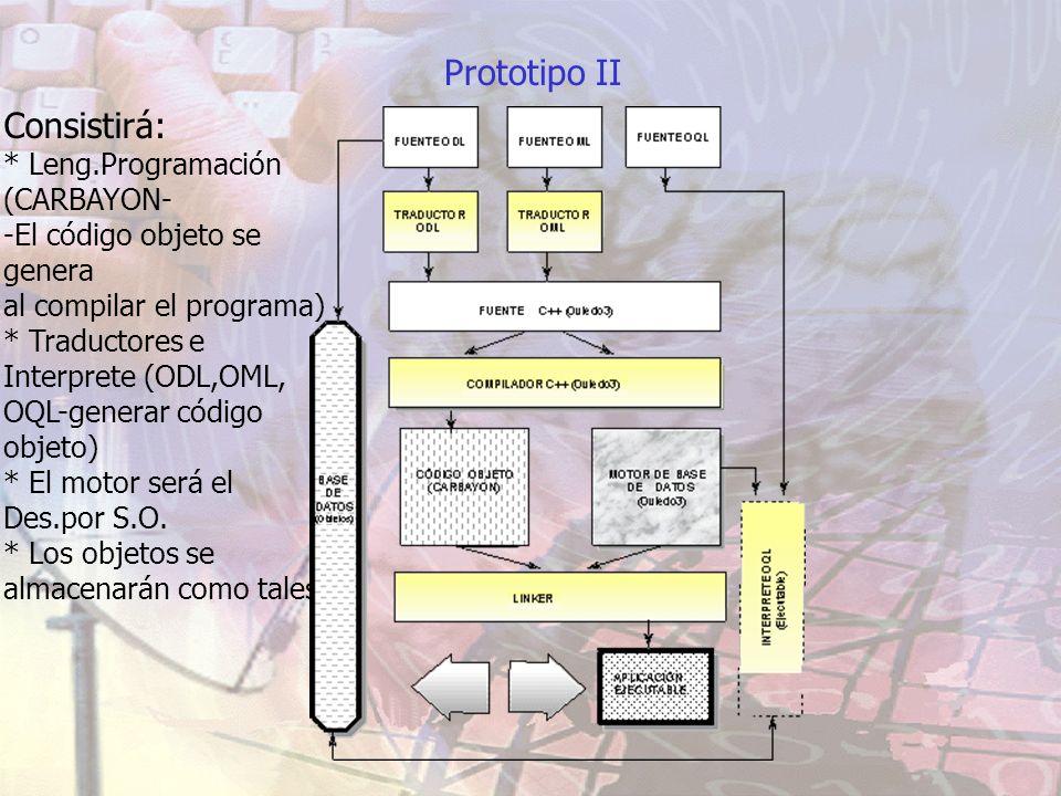 Prototipo II Consistirá: * Leng.Programación (CARBAYON- -El código objeto se genera al compilar el programa) * Traductores e Interprete (ODL,OML, OQL-