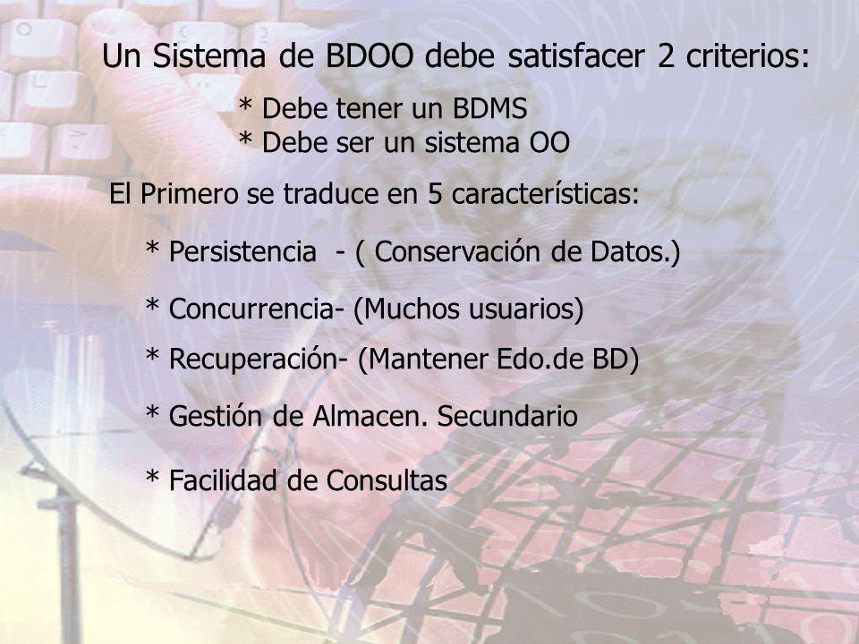 Un Sistema de BDOO debe satisfacer 2 criterios: * Debe tener un BDMS * Debe ser un sistema OO El Primero se traduce en 5 características: * Persistenc