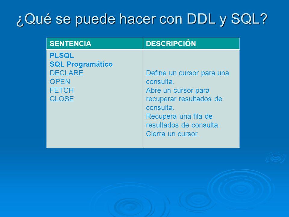 ¿Qué se puede hacer con DDL y SQL? SENTENCIADESCRIPCIÓN PLSQL SQL Programático DECLARE OPEN FETCH CLOSE Define un cursor para una consulta. Abre un cu