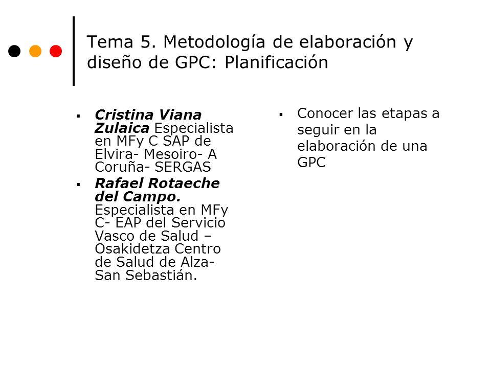 Tema 5. Metodología de elaboración y diseño de GPC: Planificación Cristina Viana Zulaica Especialista en MFy C SAP de Elvira- Mesoiro- A Coruña- SERGA