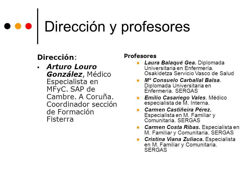 Dirección y profesores Dirección: Arturo Louro González, Médico Especialista en MFyC.