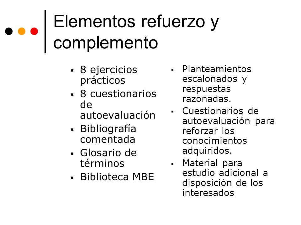 Elementos refuerzo y complemento 8 ejercicios prácticos 8 cuestionarios de autoevaluación Bibliografía comentada Glosario de términos Biblioteca MBE Planteamientos escalonados y respuestas razonadas.