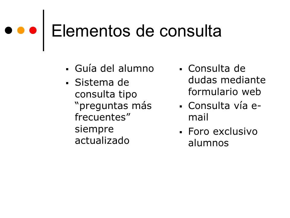 Elementos de consulta Guía del alumno Sistema de consulta tipo preguntas más frecuentes siempre actualizado Consulta de dudas mediante formulario web Consulta vía e- mail Foro exclusivo alumnos