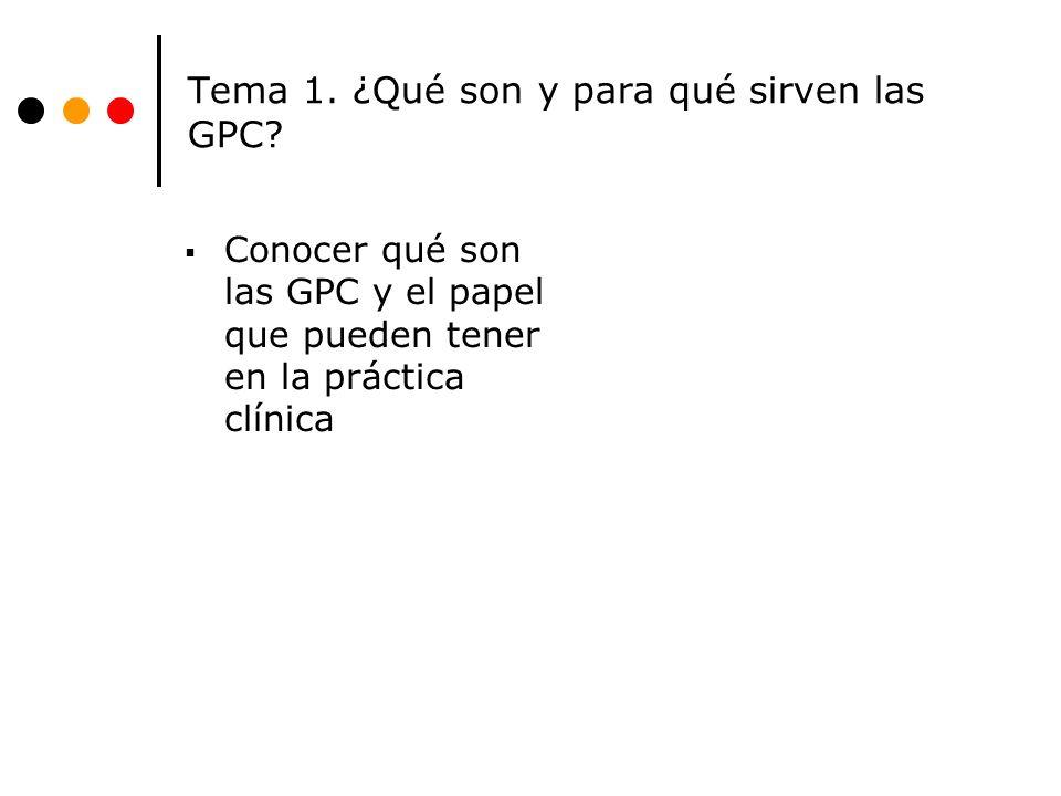 Tema 1.¿Qué son y para qué sirven las GPC.