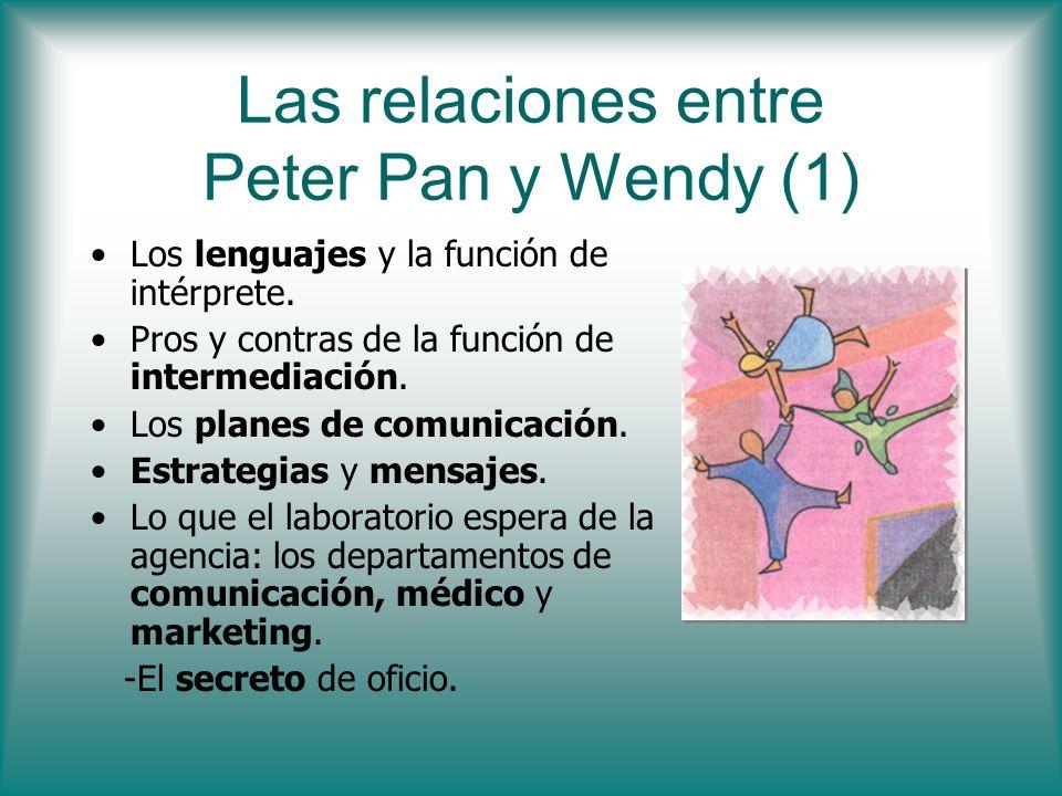 Las relaciones entre Peter Pan y Wendy (1) Los lenguajes y la función de intérprete. Pros y contras de la función de intermediación. Los planes de com