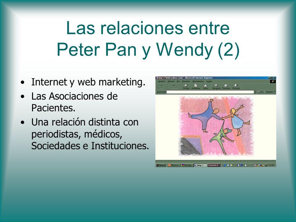 Las relaciones entre Peter Pan y Wendy (2) Internet y web marketing. Las Asociaciones de Pacientes. Una relación distinta con periodistas, médicos, So