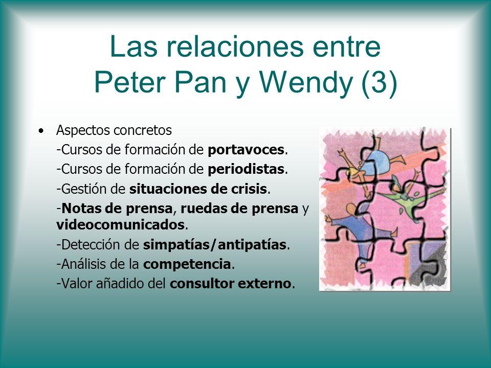 Las relaciones entre Peter Pan y Wendy (3) Aspectos concretos -Cursos de formación de portavoces. -Cursos de formación de periodistas. -Gestión de sit