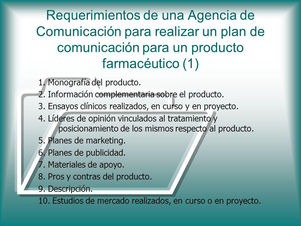 Requerimientos de una Agencia de Comunicación para realizar un plan de comunicación para un producto farmacéutico (1) 1. Monografía del producto. 2. I