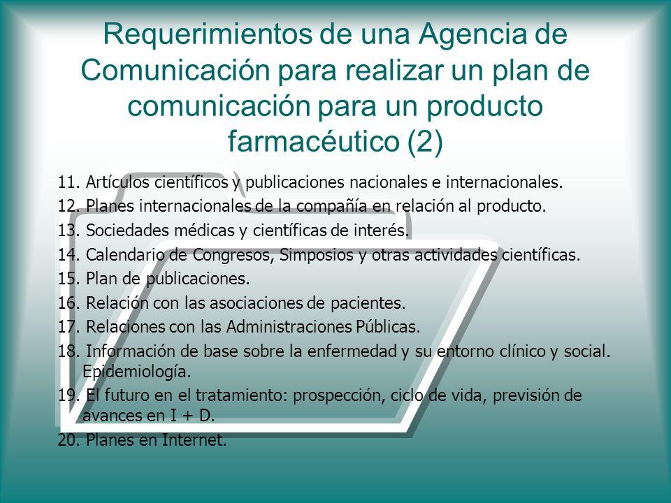 Requerimientos de una Agencia de Comunicación para realizar un plan de comunicación para un producto farmacéutico (2) 11. Artículos científicos y publ