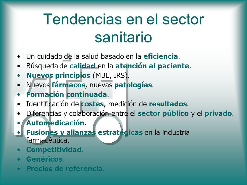 Tendencias en el sector sanitario Un cuidado de la salud basado en la eficiencia. Búsqueda de calidad en la atención al paciente. Nuevos principios (M