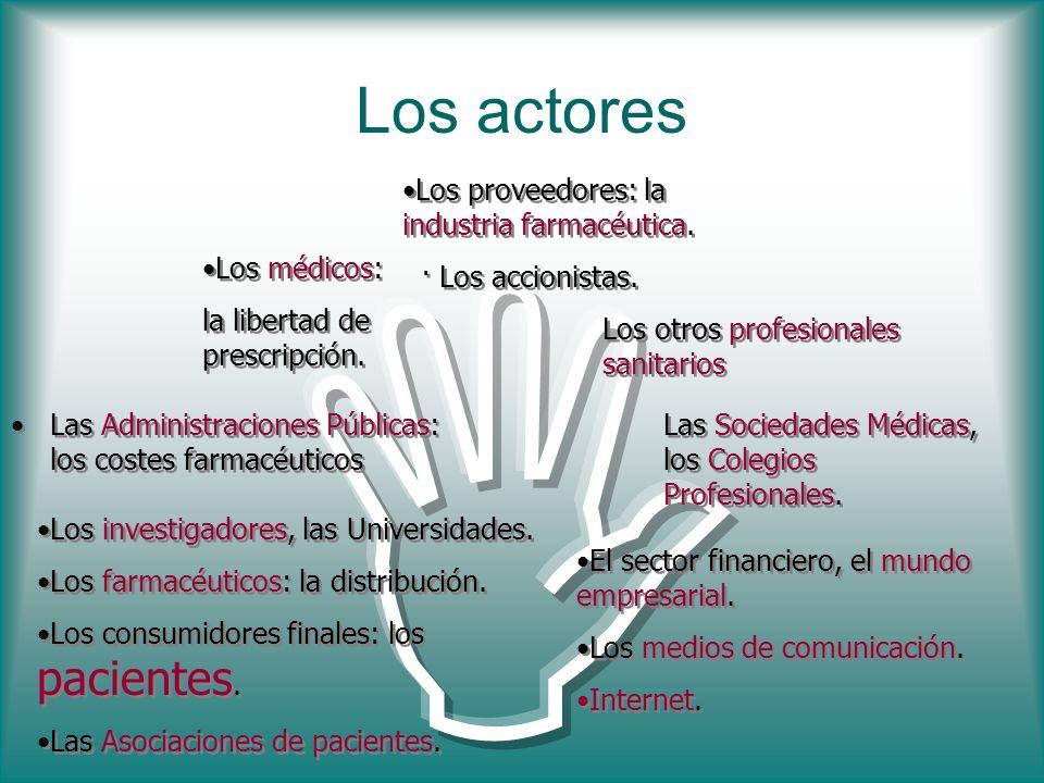 Los actores Las Administraciones Públicas: los costes farmacéuticos Los proveedores: la industria farmacéutica. · Los accionistas. Los proveedores: la