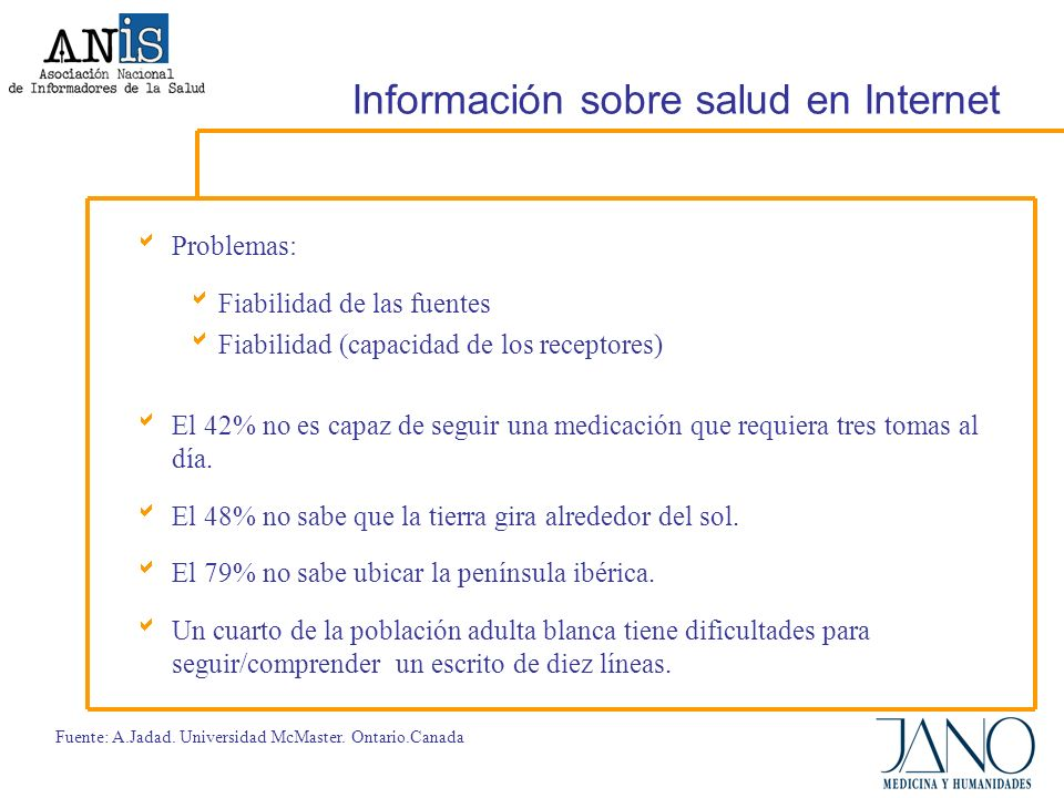 Información sobre salud en Internet Problemas: Fiabilidad de las fuentes Fiabilidad (capacidad de los receptores) El 42% no es capaz de seguir una medicación que requiera tres tomas al día.