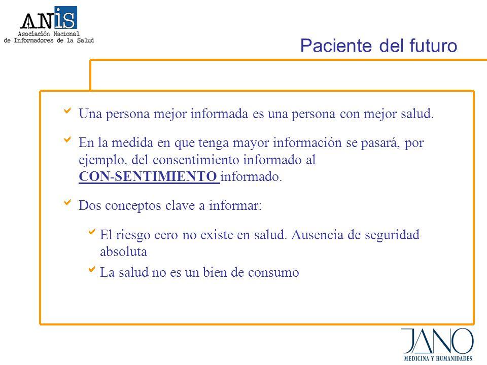 Paciente del futuro Una persona mejor informada es una persona con mejor salud.