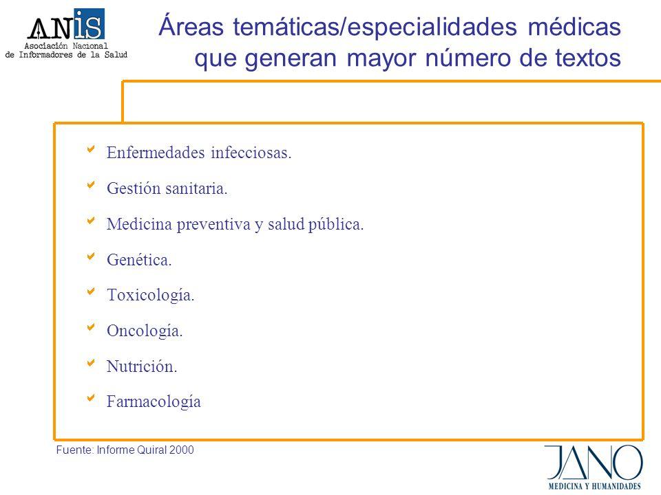 Áreas temáticas/especialidades médicas que generan mayor número de textos Enfermedades infecciosas.