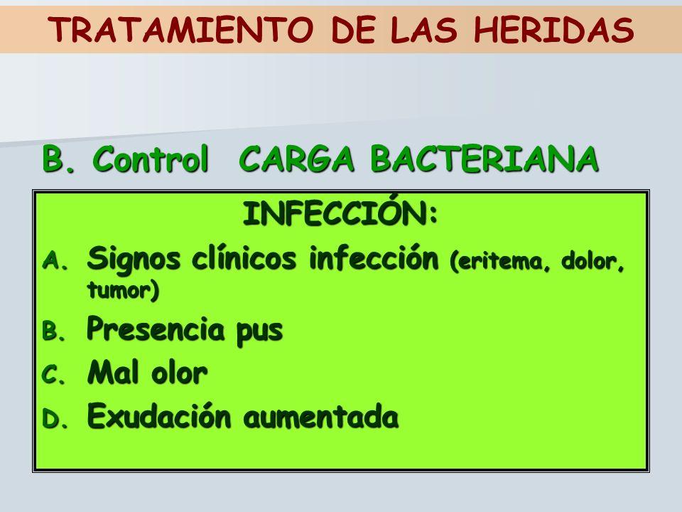 INFECCIÓN: A. Signos clínicos infección (eritema, dolor, tumor) B. Presencia pus C. Mal olor D. Exudación aumentada TRATAMIENTO DE LAS HERIDAS B. Cont