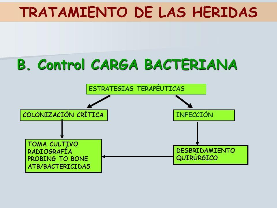 TRATAMIENTO DE LAS HERIDAS B. Control CARGA BACTERIANA ESTRATEGIAS TERAPÉUTICAS COLONIZACIÓN CRÍTICAINFECCIÓN TOMA CULTIVO RADIOGRAFÍA PROBING TO BONE