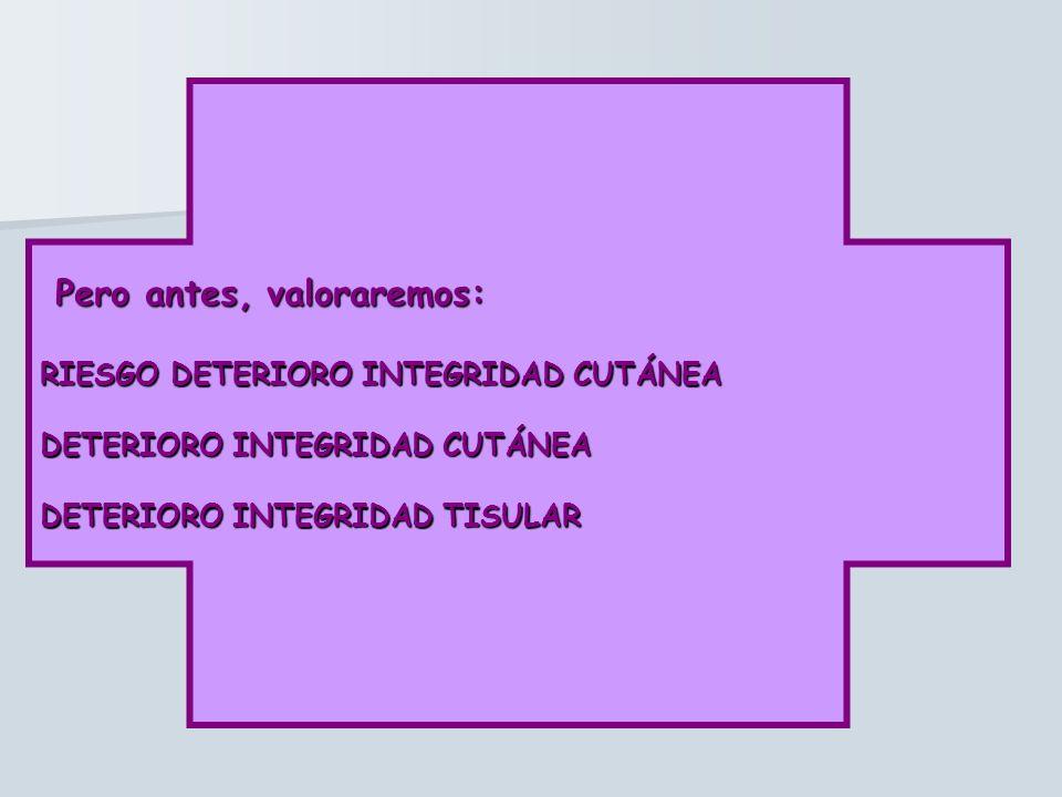 Pero antes, valoraremos: Pero antes, valoraremos: RIESGO DETERIORO INTEGRIDAD CUTÁNEA DETERIORO INTEGRIDAD CUTÁNEA DETERIORO INTEGRIDAD TISULAR