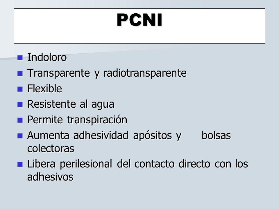 PCNI Indoloro Indoloro Transparente y radiotransparente Transparente y radiotransparente Flexible Flexible Resistente al agua Resistente al agua Permi