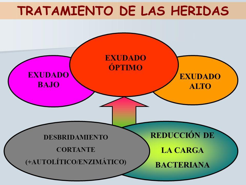 TRATAMIENTO DE LAS HERIDAS EXUDADO BAJO EXUDADO ALTO REDUCCIÓN DE LA CARGA BACTERIANA DESBRIDAMIENTO CORTANTE (+AUTOLÍTICO/ENZIMÁTICO) EXUDADO ÓPTIMO