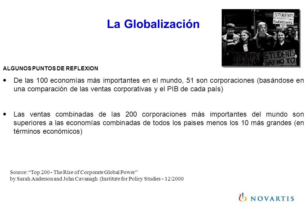 La Globalización ALGUNOS PUNTOS DE REFLEXION De las 100 economías más importantes en el mundo, 51 son corporaciones (basándose en una comparación de l
