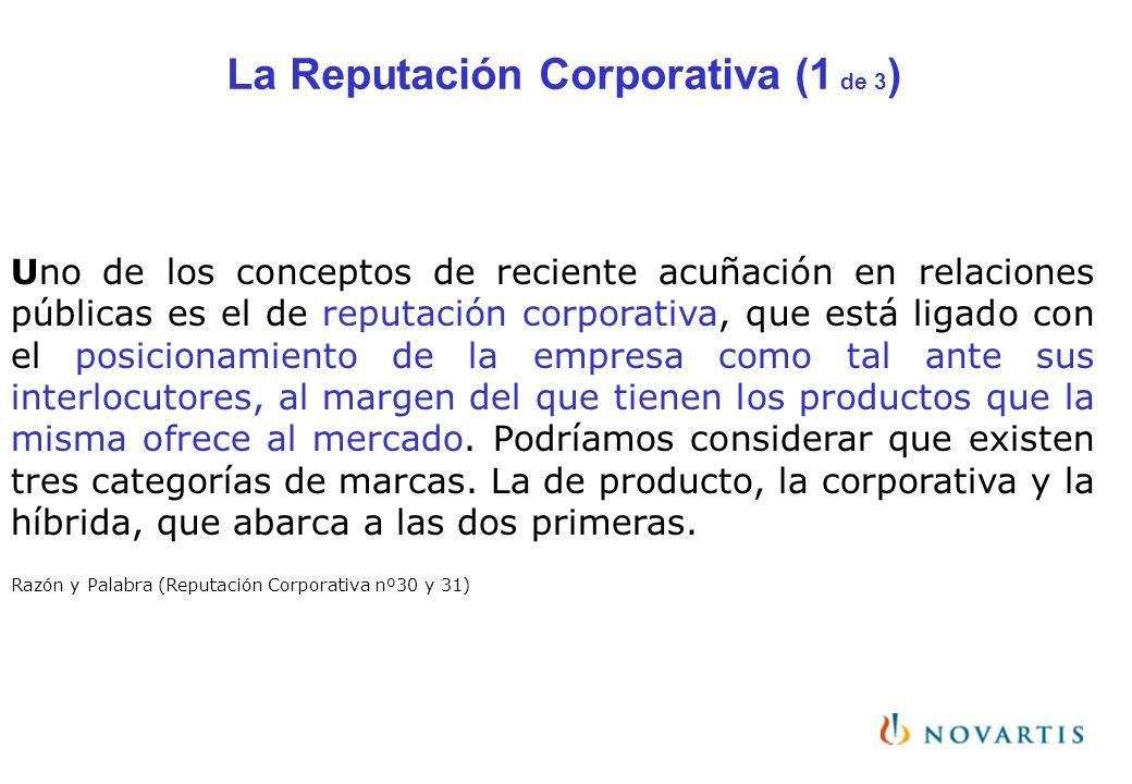La Reputación Corporativa (1 de 3 ) Uno de los conceptos de reciente acuñación en relaciones públicas es el de reputación corporativa, que está ligado