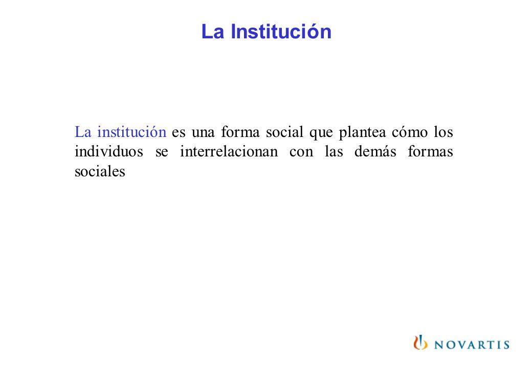 La institución es una forma social que plantea cómo los individuos se interrelacionan con las demás formas sociales
