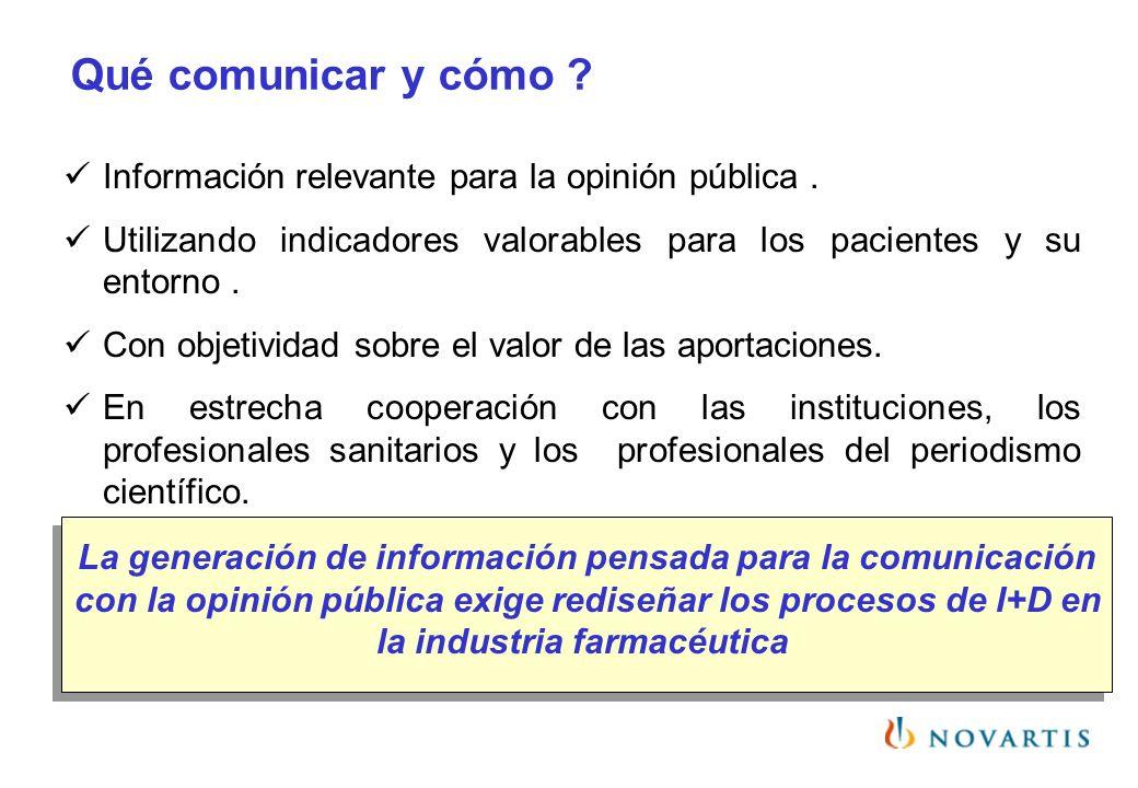Qué comunicar y cómo ? Información relevante para la opinión pública. Utilizando indicadores valorables para los pacientes y su entorno. Con objetivid