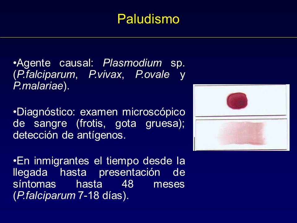 Paludismo Agente causal: Plasmodium sp. (P.falciparum, P.vivax, P.ovale y P.malariae). Diagnóstico: examen microscópico de sangre (frotis, gota gruesa
