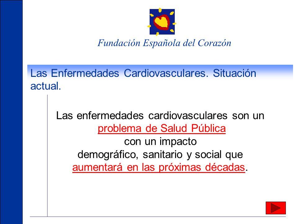 Fundación Española del Corazón Las Enfermedades Cardiovasculares. Situación actual. Son la primera causa de muerte en España (37% de los decesos). De