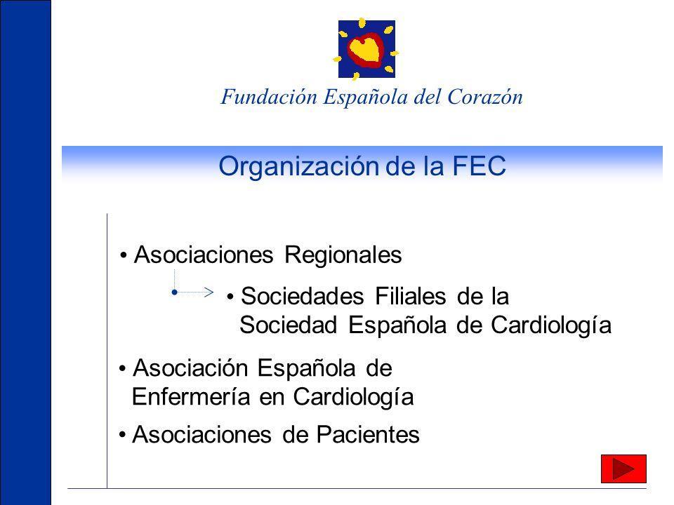 Fundación Española del Corazón Organización de la FEC Asociaciones Regionales Asociación Española de Enfermería en Cardiología Asociaciones de Pacientes Sociedades Filiales de la Sociedad Española de Cardiología