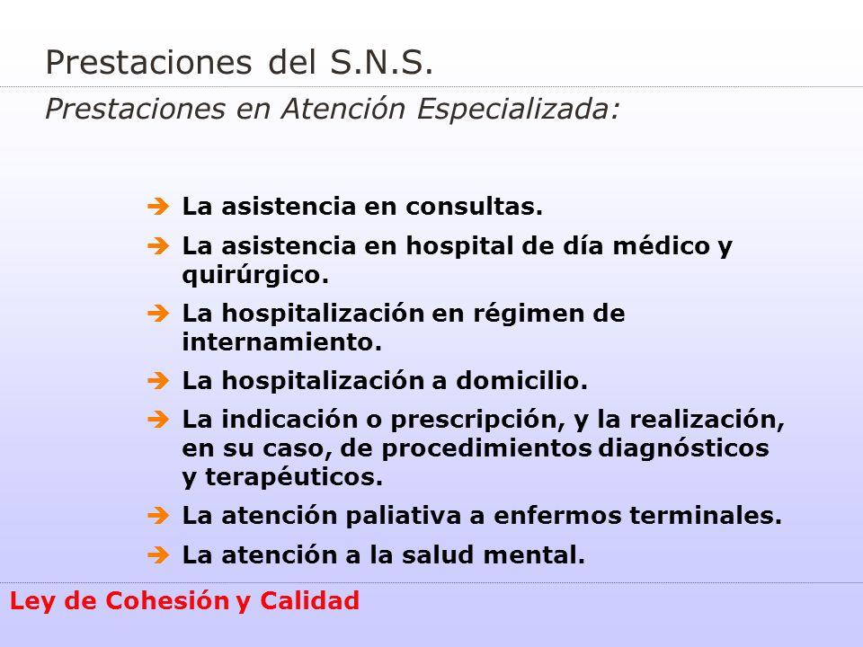 Ley de Cohesión y Calidad Prestaciones del S.N.S. Prestaciones en Atención Especializada: La asistencia en consultas. La asistencia en hospital de día