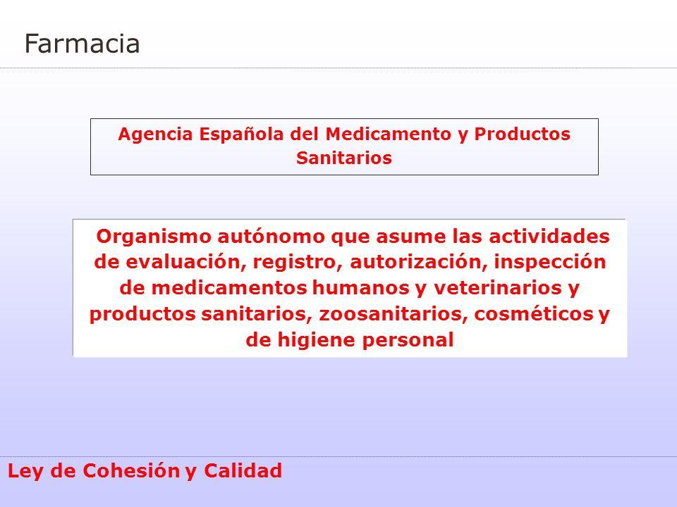 Farmacia Agencia Española del Medicamento y Productos Sanitarios Ley de Cohesión y Calidad Organismo autónomo que asume las actividades de evaluación,