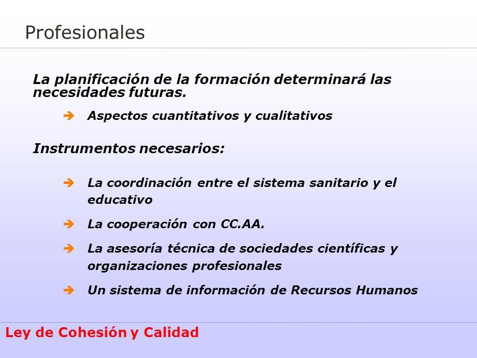 Ley de Cohesión y Calidad La planificación de la formación determinará las necesidades futuras. Aspectos cuantitativos y cualitativos Instrumentos nec