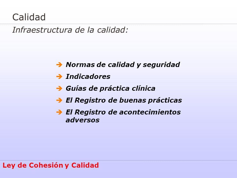 Calidad Infraestructura de la calidad: Ley de Cohesión y Calidad Normas de calidad y seguridad Indicadores Guías de práctica clínica El Registro de bu