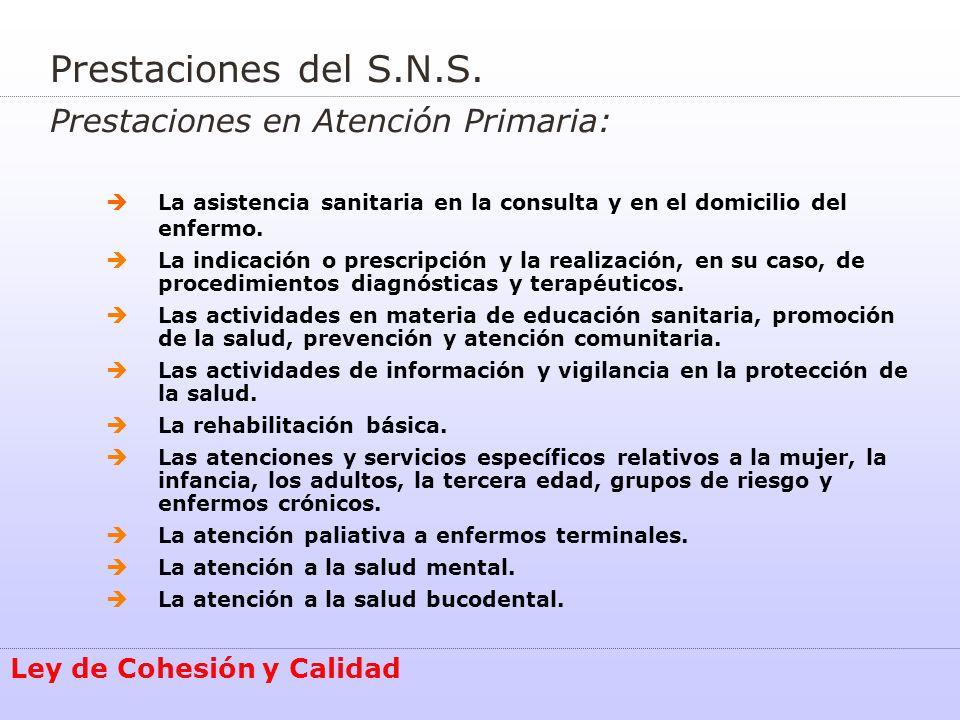 Cohesión del Sistema Nacional de Salud Ley de Cohesión y Calidad Equidad Eficiencia Modernización Calidad Solidaridad