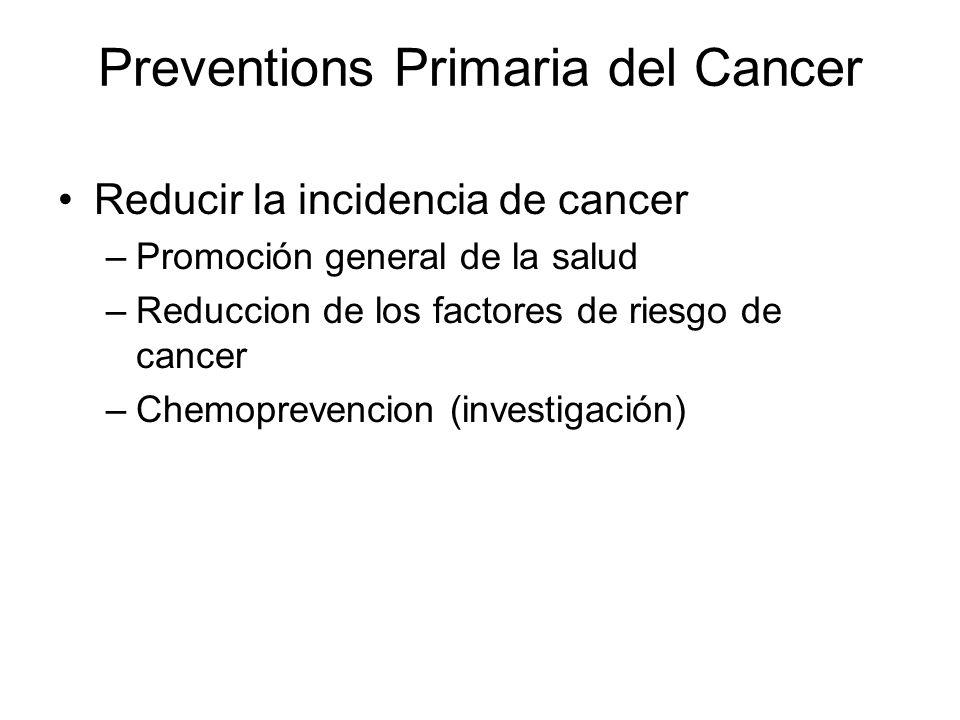 Preventions Primaria del Cancer Reducir la incidencia de cancer –Promoción general de la salud –Reduccion de los factores de riesgo de cancer –Chemopr