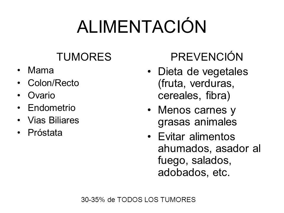ALIMENTACIÓN TUMORES Mama Colon/Recto Ovario Endometrio Vias Biliares Próstata PREVENCIÓN Dieta de vegetales (fruta, verduras, cereales, fibra) Menos