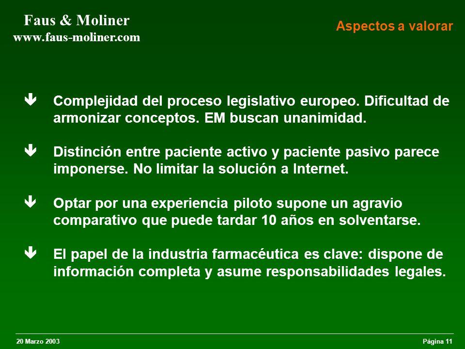 20 Marzo 2003Página 11 Faus & Moliner www.faus-moliner.com Complejidad del proceso legislativo europeo.