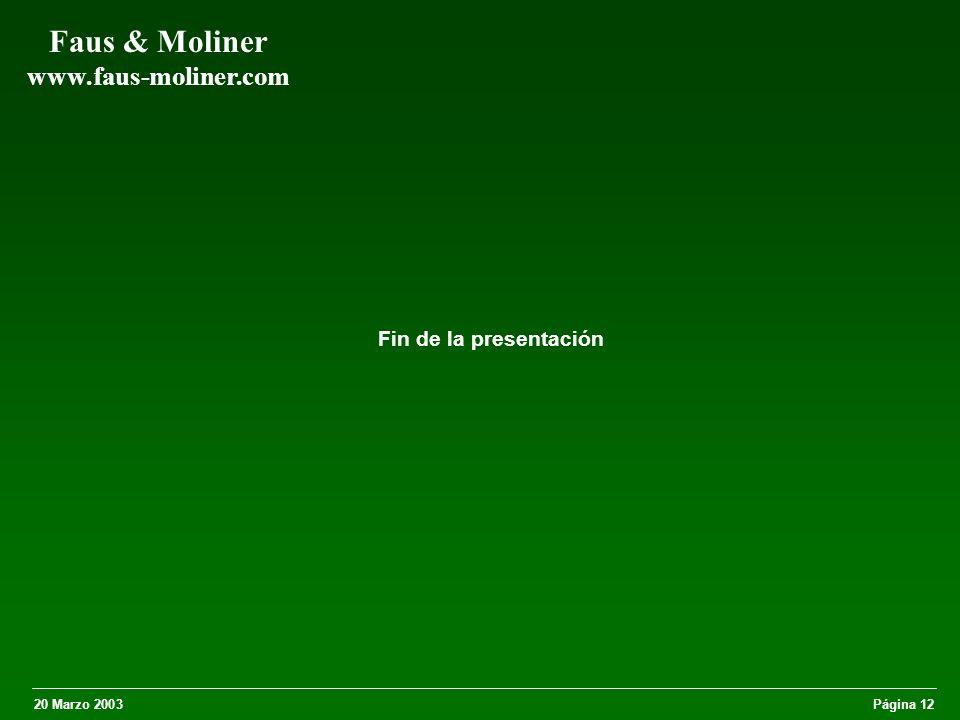 20 Marzo 2003Página 12 Faus & Moliner www.faus-moliner.com Fin de la presentación