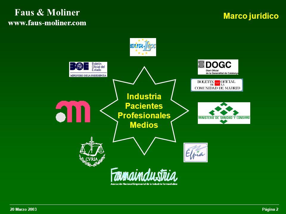 20 Marzo 2003Página 3 Faus & Moliner www.faus-moliner.com Directiva 2001/83/CEE (ex Directiva 92/28/CEE) Obliga a los EM a prohibir la publicidad directa al público de los medicamentos de prescripción.