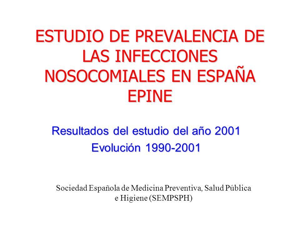 ESTUDIO DE PREVALENCIA DE LAS INFECCIONES NOSOCOMIALES EN ESPAÑA EPINE Resultados del estudio del año 2001 Evolución 1990-2001 Sociedad Española de Me